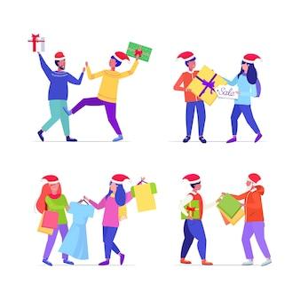Set shopper in weihnachtsmützen kämpfen für einkäufe taschen und geschenkboxen männer frauen kunden auf saisonale shopping sale kampfkonzept in voller länge