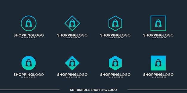 Set shopping logo design vektor bundle premium