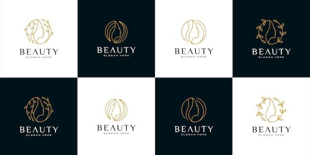 Set silhouette frau gesicht femininen lifestyle-salon