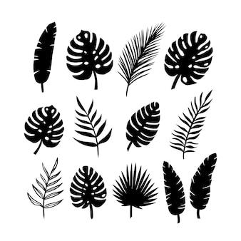 Set silhouetten von palmblättern auf einem weißen hintergrund. vektor-eps10