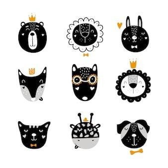 Set skandinavische niedliche tiere