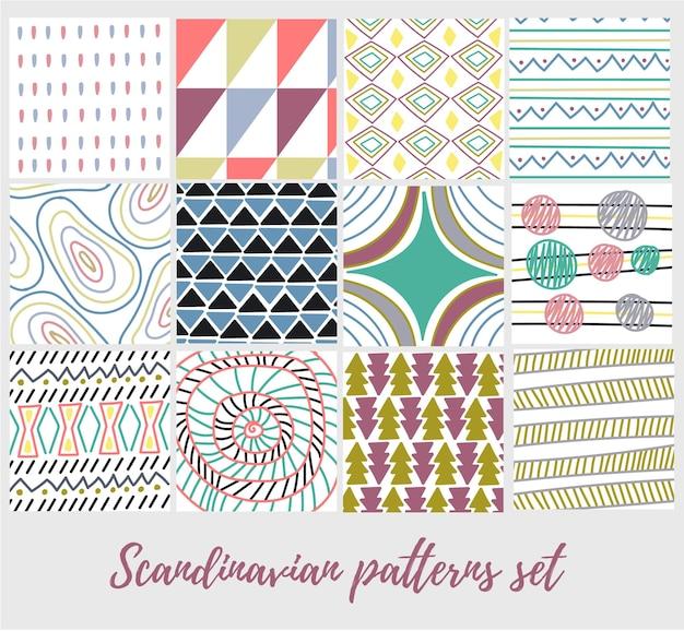 Set skandinavisches abstraktes muster nordische konzepte hygge lagom