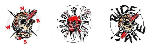 Set skull tshirt graphic design mit text der sackgasse