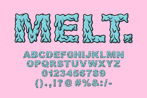 Set slime alphabet melt grime typografie set konzept cartoon symbol vektor
