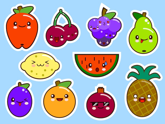 Set smiley kawaii früchte