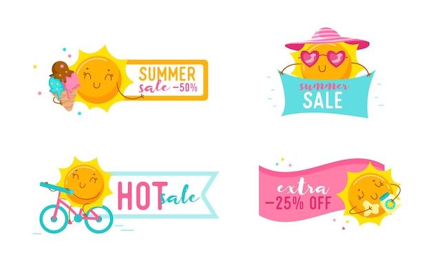 Set sommer sale banner mit niedlichen cartoon sun charakteren