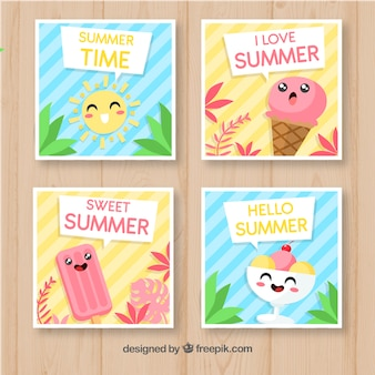Set sommerkarten mit eiscreme cartoons