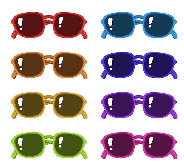 Set sonnenbrillen in verschiedenen farben rahmen