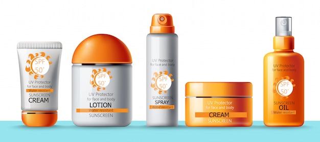 Set sonnencreme, lotion, spray und öl. uv-schutz. wasserdicht. realistisch