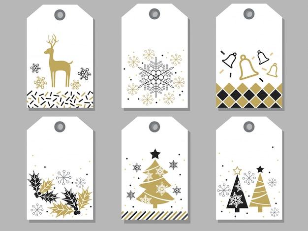 Set sortierte geschenkmarken des neuen jahres und des weihnachten