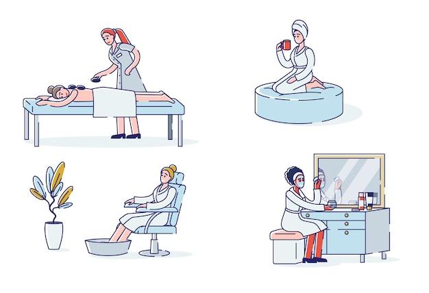Set spa-verfahren für weibliche hot stone massage gesichtsmaske fußbad und entspannenden tee