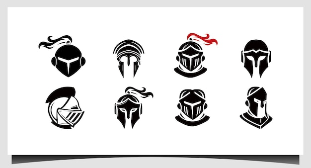 Set spartan logo sparta logo spartan helm logo vektor