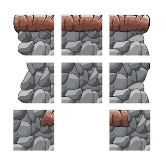 Set spiel tileset für den spielhintergrund getrennt auf weiß