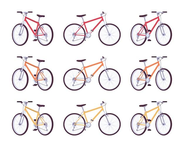 Set sportfahrräder in den farben rot, orange, gelb
