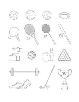 Set sportikonen. linie vektor illustrationen.