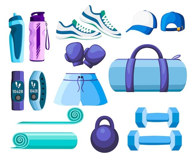 Set sportzubehör und kleidung. blaue und lila farbsammlung. symbole für den unterricht im fitnessstudio. illustration auf weißem hintergrund
