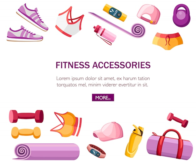 Set sportzubehör und kleidung. frauenoutfits. orange und rosa farbkollektion. symbole für den unterricht im fitnessstudio. illustration auf weißem hintergrund. platz für text