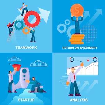 Set startup analysis return investment teamwork.
