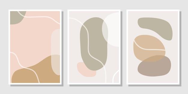 Set stilvoller vorlagen mit abstrakten formen in pastellfarben