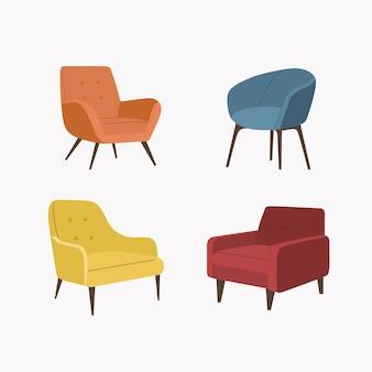 Set stühle. vektorillustration.