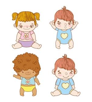 Set süße babys mit frisur und windel