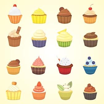 Set süße cupcakes und muffins.