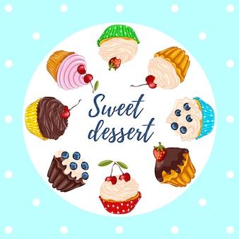 Set süße dessert cupcakes, muffins mit frischen beeren isoliert