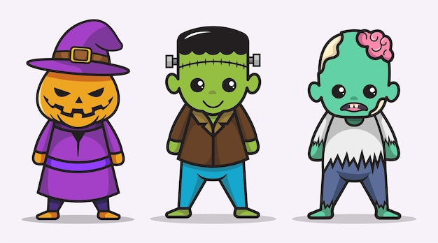 Set süße halloween-charaktersammlungen