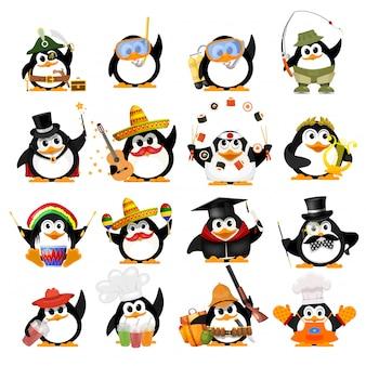 Set süße kleine pinguine. junge pinguine verschiedener berufe mit gegenständen