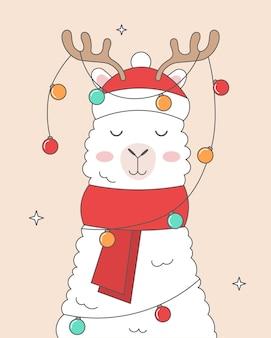 Set süße neujahrskarte mit lama
