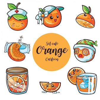 Set süße orange zeichentrickfigur