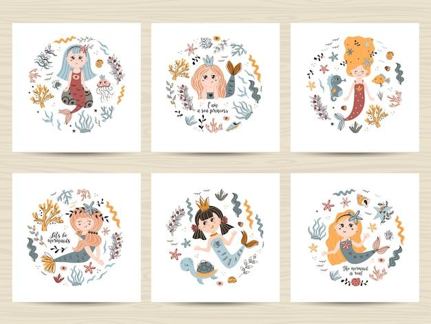 Set süße poster mit meerjungfrauen