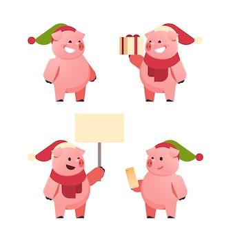Set süße schweine für chinesisches neujahr zu weihnachten