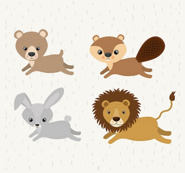 Set süße tiere wildtiere