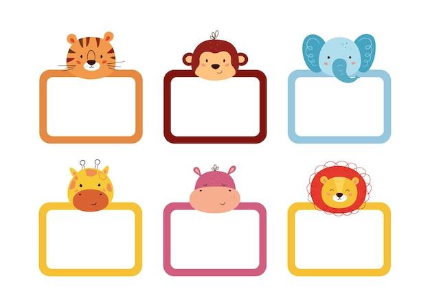 Set süßer bilderrahmen verzierte tierköpfe. rahmen für baby-fotoalbum, einladung, notizbuch oder postkarte. kasten mit platz für text. vektorillustrationen lokalisiert auf weißem hintergrund.