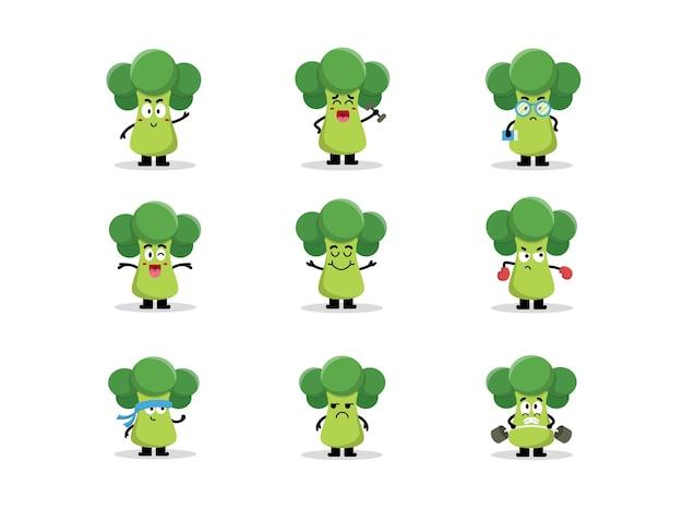 Set süßer brokkoli-charaktere in verschiedenen posen