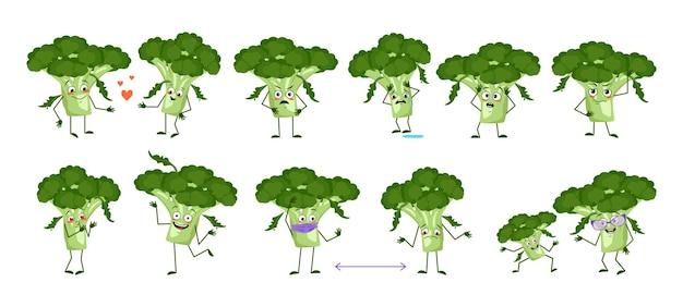 Set süßer brokkoli-figuren mit emotionen, gesichtern, armen und beinen. lustige oder traurige helden, grünes gemüse spielen, verlieben sich, halten abstand. flache vektorgrafik
