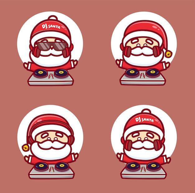 Set süßer dj-santa-charakter tragen kopfhörer und spielen disc-joky zu weihnachten. maskottchen-cartoon-vektor