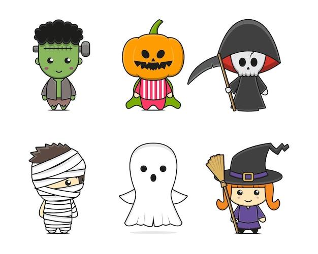 Set süßer halloween-maskottchen-charakter. design isoliert auf weißem hintergrund.