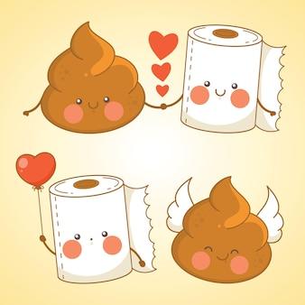 Set süßer kot- und toilettenpapier-cartoon-figur