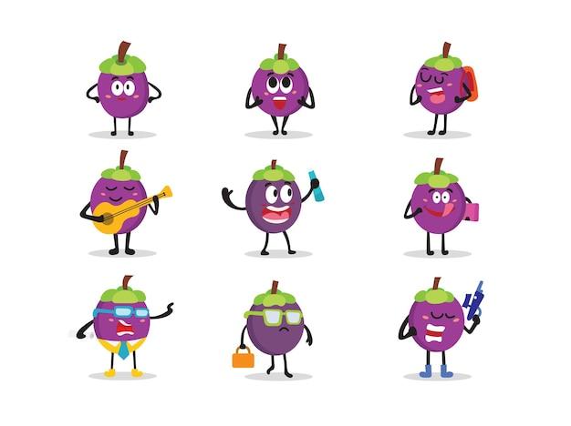 Set süßer mangostan-charakter in verschiedenen posen