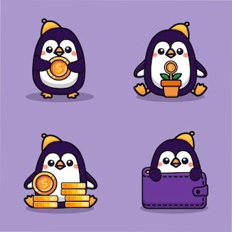 Set süßer pinguine mit münzen investieren sparkonzept maskottchen-symbol für virtuelle finanzanwendung