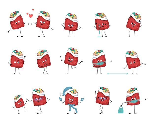 Set süßer roter taschenfigur mit neujahrsgeschenken mit emotionen, gesicht, armen und beinen, fröhlich oder traurig ...