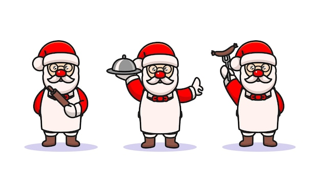 Set süßer weihnachtsmann mit kochkostüm