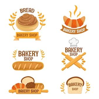Set süßes bäckerei-logo-konzept mit schöner farbe und form