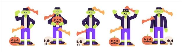 Set süßes frankenstein-kostüm für halloween mit verschiedenen posen-illustrationen