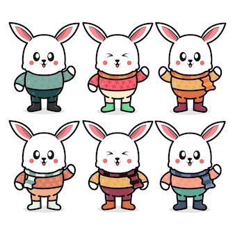 Set süßes kaninchen mit herbstkonzeptillustration