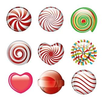 Set süßigkeiten spirale und herz verschiedene farbgestaltung