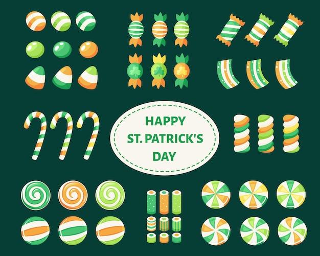 Set süßigkeiten und bonbons zum st. patrick's day