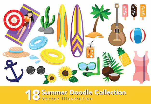 Set summer icon collection